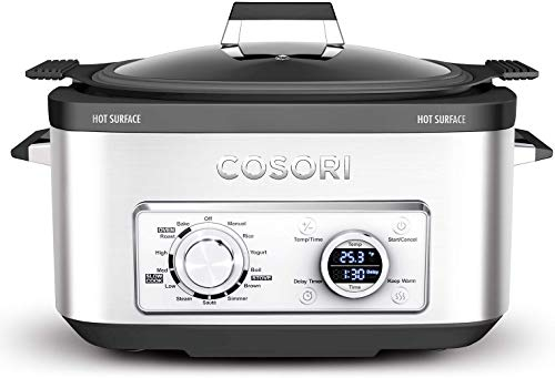 COSORI Slow Cooker 6-Quart 11-in-1 Programmable Multi-Cooker Pot, Rice Cooker, Auto-Warmer, Delay Timer,86°F-400°F,UL Listed/FDA Compliant, Silver