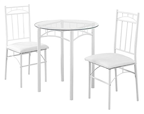 (Monarch Specialties I 1001 Metal/Tempered Glass Dining Set (3 Pieces), 30