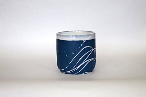 (A Pair of coffee/latte/cappuccino cups - blue and with white swirls. handmade, porcelain. stackable. 10oz. no handle. (2)