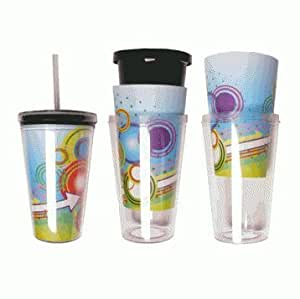 Eco To Go Cold Drink Tumbler - Double Wall -16oz. Capacity - Clear Removable Insert