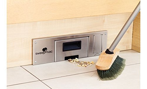 GedoTec Socket suction Sweepovac to Install under Kitchen units kitchen cleaner with Stainless steel plate 330 x 110 mm Power 650 W Brand quality for your Living area - Sockelsauger Edelstahl matt