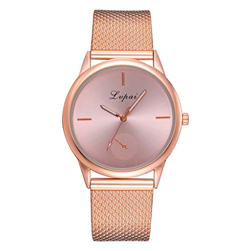 WoCoo Luxury Watch for Women,Fashion Analog Quartz Simple Dial Watches with Stainless Steel Mesh Bracelet Band Wristwatch(Rose Gold,One Size)