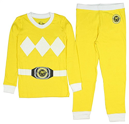 Intimo Kids Mighty Morphin Power Rangers Costume Pajama Set (Yellow, 8)