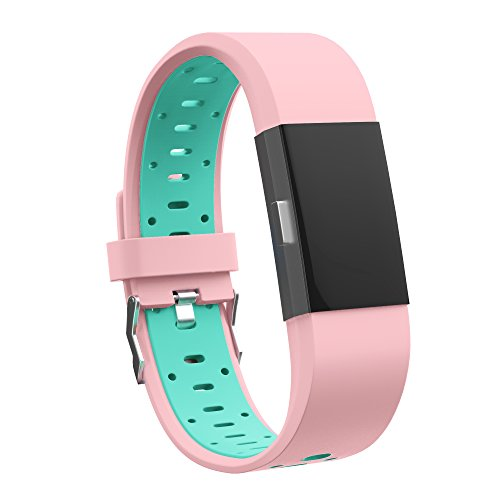 Lavender Leather Band Watch (Fitbit Charge 2 Bands, Adjustable Replacement Sport Strap Bands for Fitbit Charge 2 Smartwatch Fitness Wristband Small Pink-Teal by Teak)