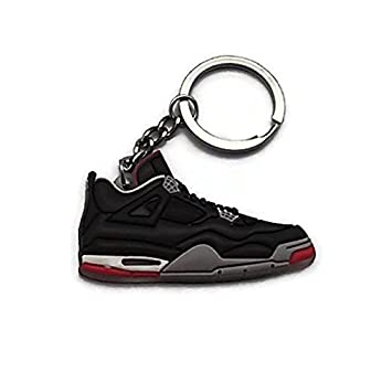 Jordan IV/4 Bred Black/Red LS Sneakers Shoes Keychain Keyring AJ 23 Retro by DarrellsWorld