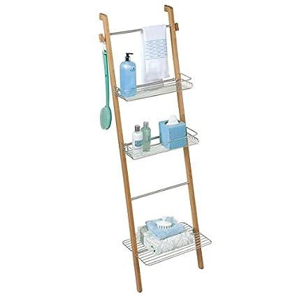 amazon com mdesign free standing bathroom storage ladder with rh amazon com rustic ladder with shelves ladder shelves bathroom