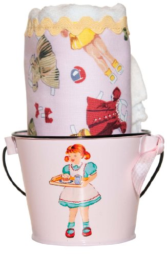 Retro Paper Dolls Burp Cloth & Bucket (Vintage Rick Rack)