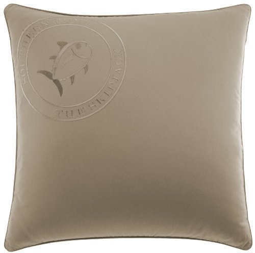 Southern Tide The Embroidered Skipjack Pillow Sham, 26 by 26-Inch, Khaki
