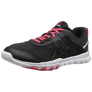 Reebok Women's Sublite Train 4.0 L MT Training Shoe,Black/Gravel/Fearless Pink/White,6.5 M US