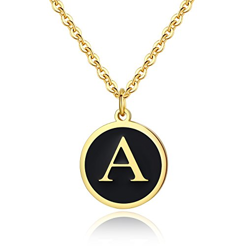 REVEMCN Stainless Steel Alphabet and Bible Verse Proverbs 4:23 Pendant Necklace for Men Women with Keyring and 22'' Chain (Gold-Tone: A) (Gold Tone Initial Letter)