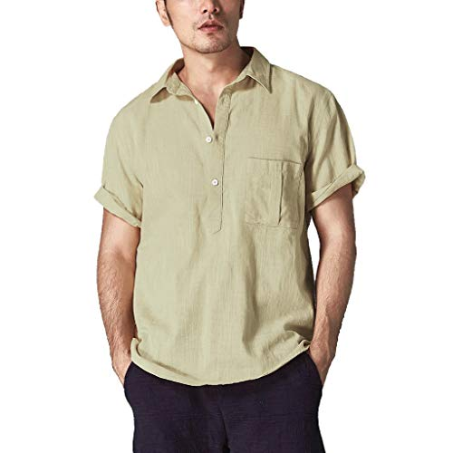 (Fastbot Men Shirts Short Sleeve Polo Shirt Slim fit Baggy Cotton Linen Solid Color Retro Tops Blouse Khaki)