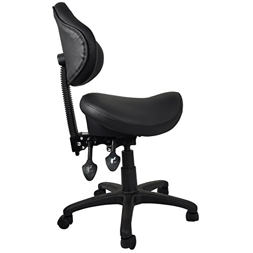 2xhome Ergonomic Adjustable Rolling Saddle Stool Chair