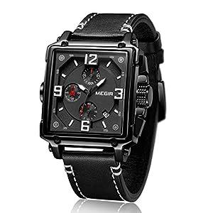 MEGIR Montre Homme Lumineux Rectangulaire Chronographe Classique Quartz Calendrier Montre avec Bracelet en Cuir Cadeau…