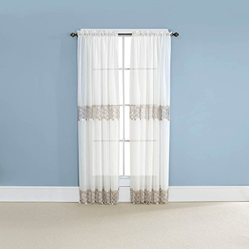 "Renaissance Home Fashion Lillian Panel with MACRAMÉ Bands, 55"" x 84"", Ivory"