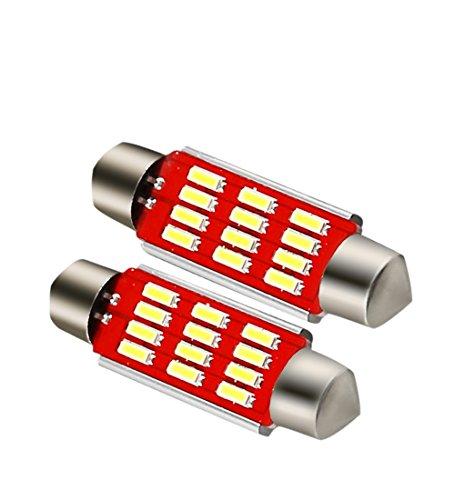Car LED Interior Light Bulbs Dome Light Map Bulb - 4014 Chipset Canbus Error Free 1.65 42mm Festoon 212 2 led bulbs 6000K Xenon White