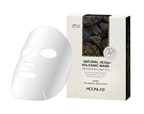 [MOONLAB] NATURAL JEJU PLUS VOLCANIC ASH SHEET MASK – Pore Minimizing, Shrink Your Pores Naturally, Reduce Excessive Sebum Production With Volcanic Ash, 100% Pure Cotton Sheet, 22ml Pack of 10pcs