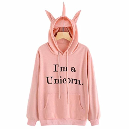 BeautyVan Pullover Tops, New Design Womens Unicorn Print Long Sleeve Hoodie Pullover Tops (XL, Pink)