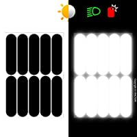 B REFLECTIVE, (2 Pack) 10 retro reflective stickers kit, Night visibility safety, Universal adhesive for Bike / Stroller / Buggy / Helmet / Motorcycle / Scooter / Toys, 7 x 1,8 cm, Black by B REFLECTIVE