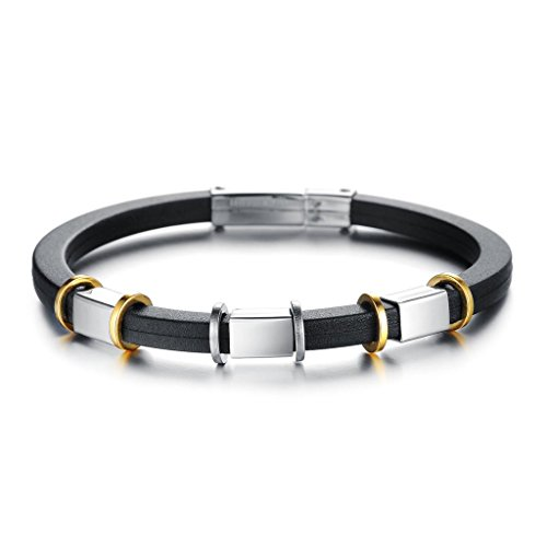 (MoAndy Jewelry Silicone Stainless Steel Men's Fashion Bangle Bracelet Punk Clasp Rings Black)