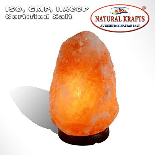 - Rock Crystal Himalayan Salt Lamp Natural Shape Beautiful Decor Lamp 10-15 lbs 5-7 KG with Wood Base, Electric Wire & Bulb