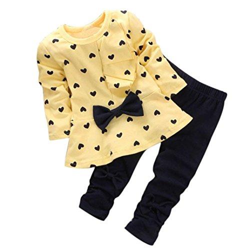 FUNIC Baby Girls Clothes Set, 2PCS Kids Girls Clothes Set Heart-shaped Print Bow Cute T shirt + Pants (6-12 Months, Yellow)