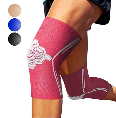 Sparthos Knee Compression Sleeves (Pair) - Support for Sports, Running, Joint Pain Relief - Knee Brace for Men and Women - Walking Cycling Football Tennis Basketball Hiking Workout Jogging (Pink-L)