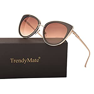 TrendyMate Women Metal Cute Cat Eye Mirror Sunglasses Fashion Eyewear (Gold Frame Brown, 0)