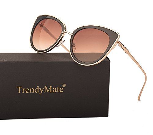 TrendyMate Women Metal Cute Cat Eye Mirror Sunglasses Fashion Eyewear (Gold Frame Brown, ()