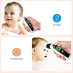Forehead Ear Thermometer - Infrared Baby Thermometer Clinical Medical Digital Fever Thermometer Instant Scan Accuracy Reading for Baby Kid Infant Children Toddler and Adult Elder with Fever Indicator