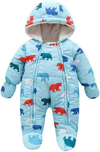 d18a5c29 Lemohome Baby Snowsuit Romper Fleece Lined Outwear Winter Warm Outfit with  Gloves