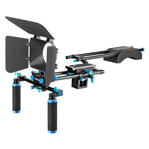 (Neewer Camera Film Movie Video Making Rig System Kit for Canon Nikon Sony and Other DSLR Cameras,DV Camcorders,Includes:Shoulder Mount,15mm Rod,Matte Box,Z-Shape Raised Rail(Blue+Black))