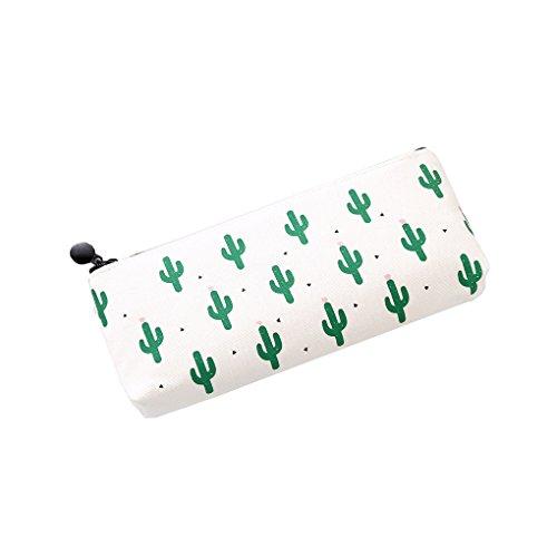 Miaomiaogo Cute Cactus Canvas Zipper Pencil Bags Storage Pen