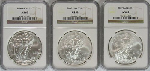 2006-2008 American Silver Eagle 3 Coin Set -