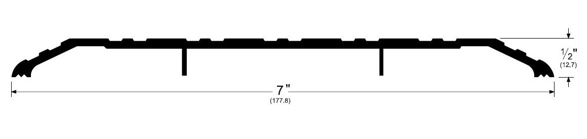 Pemko Aluminum Fluted Saddle Threshold, Mill Finish, 7''W x 36''L x 1/2''H