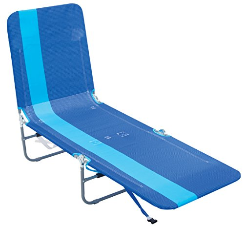 Rio Beach Multi Position Backpack Chair Lounger with Blue Stripe