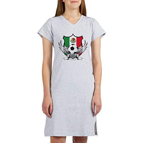 CafePress Mexico World Cup Soccer Women's Nightshirt, Soft Long Pajama Shirt, Cotton PJs/Pyjamas Heather Grey