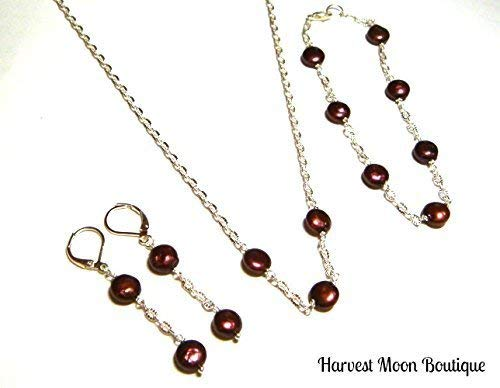 (Black Cherry Red Cultured Freshwater Pearl Jewelry Set Bracelet Earrings & Necklace Artisan Classic Design)