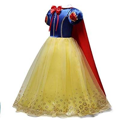 HIHCBF Girls Princess Snow White Costume Birthday Christmas Halloween Carnival Fancy Dress Up w/Cloak (Headband Accessories): Clothing