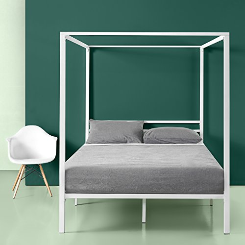 Zinus Patricia White Metal Framed Canopy Four Poster Platform Bed Frame Strong Steel Mattress Support No Box Spring Needed Queen