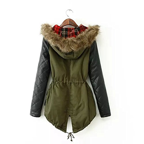 Green Parka Jacket With Leather Sleeves - JacketIn