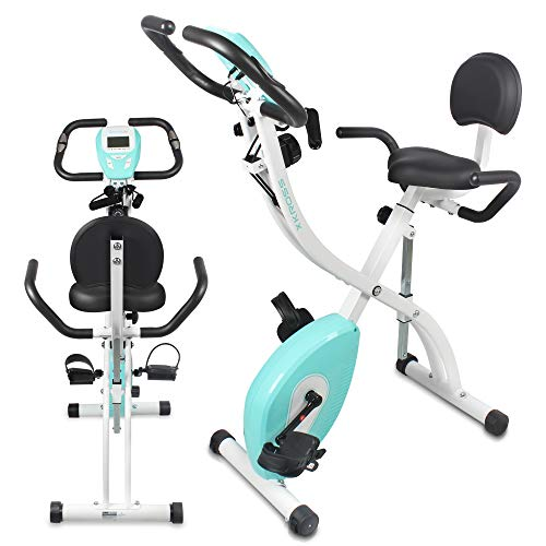 (SereneLife Indoor Folding Stationary Exercise Bike - Foldable Stationary Bike Cycling Cardio Workout Equipment - Compact Home Bicycle Fitness Machine w/ 8 Resistance Level, Pulse Monitoring SLXB18)