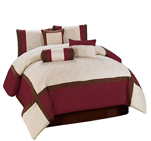 HGS 11-Pc Quilted Diamond Square Patchwork Modern Comforter Curtain Set Burgundy Brown Beige Queen