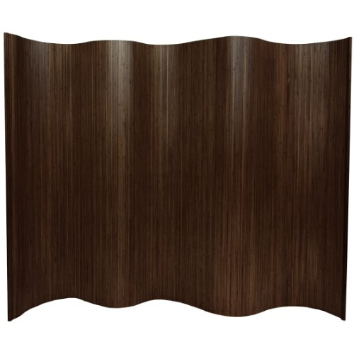 Oriental Furniture 6 ft. Tall Bamboo Wave Screen - Dark Mocha by ORIENTAL FURNITURE