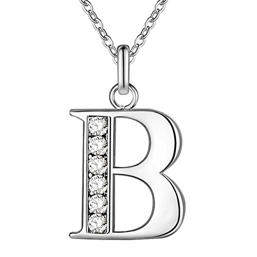 SWOPAN Initial 26 Letters Alphabet Personalized Monogram Name Charms Pendant Necklace for Women Silver Link Chain Jewelry with Cubic Zirconia A-Z