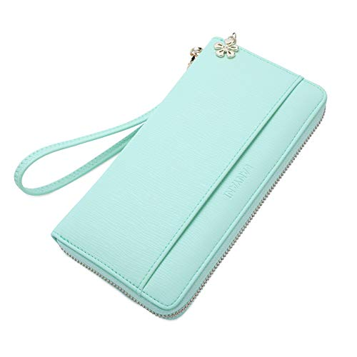 women large wallet wristlet soft leather ladies clutch long purse with wrist strap and phone holder for girls zip around (Turquoise)
