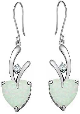 Star K Sterling Silver Hanging Hook Heart Earrings