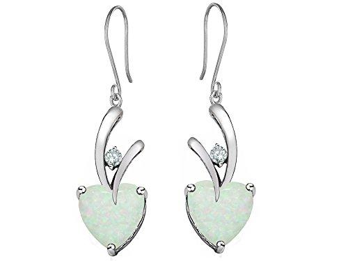 Star K 8mm Heart Shape Created Opal Hanging Hook Love Earrings Sterling Silver (Sterling Silver Opal Hanging)