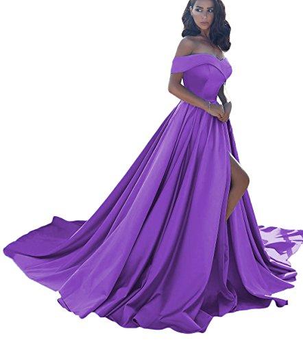 Dressesonline Women's Off Shoulder A Line Split Prom Evening Dresses Long Formal Gown US10