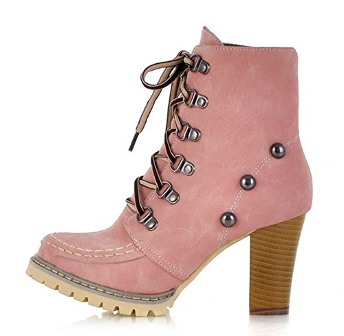 Aisun Women's Fashion Studded Round Toe Lace Up Chunky High Heels Ankle Martin Boots Shoes