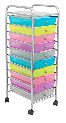 Internet's Best Rolling Cart Organizer   10 Multi Color Drawers   Classroom, Home or Office Storage Organization Bins